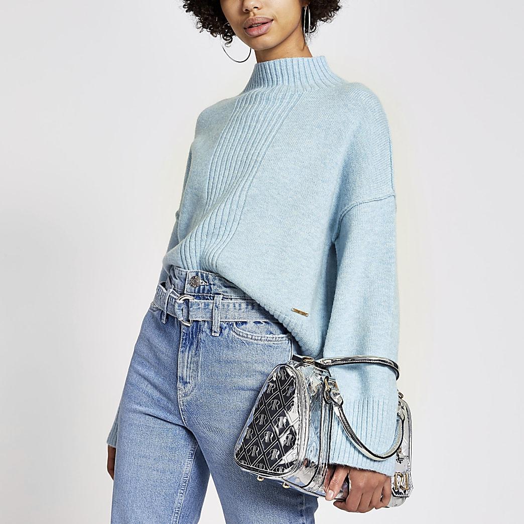 Blauwe gebreide cropped trui met lange mouwen