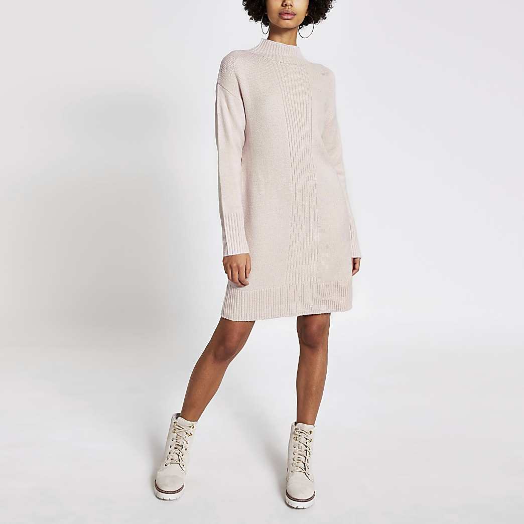 Pink high neck longline knitted tunic jumper