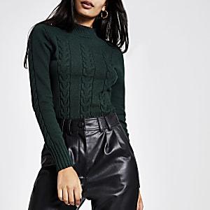 Groene gebreide kabeltrui pullover met lange mouwen