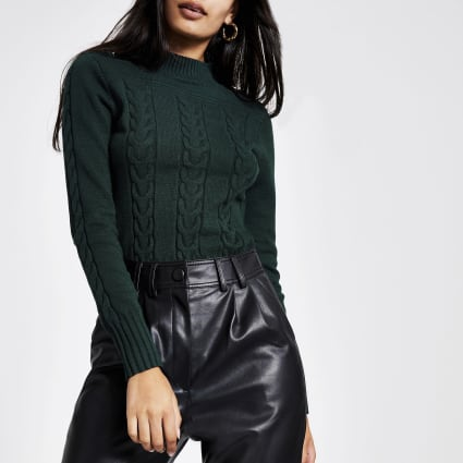 Green long sleeve cable knitted jumper