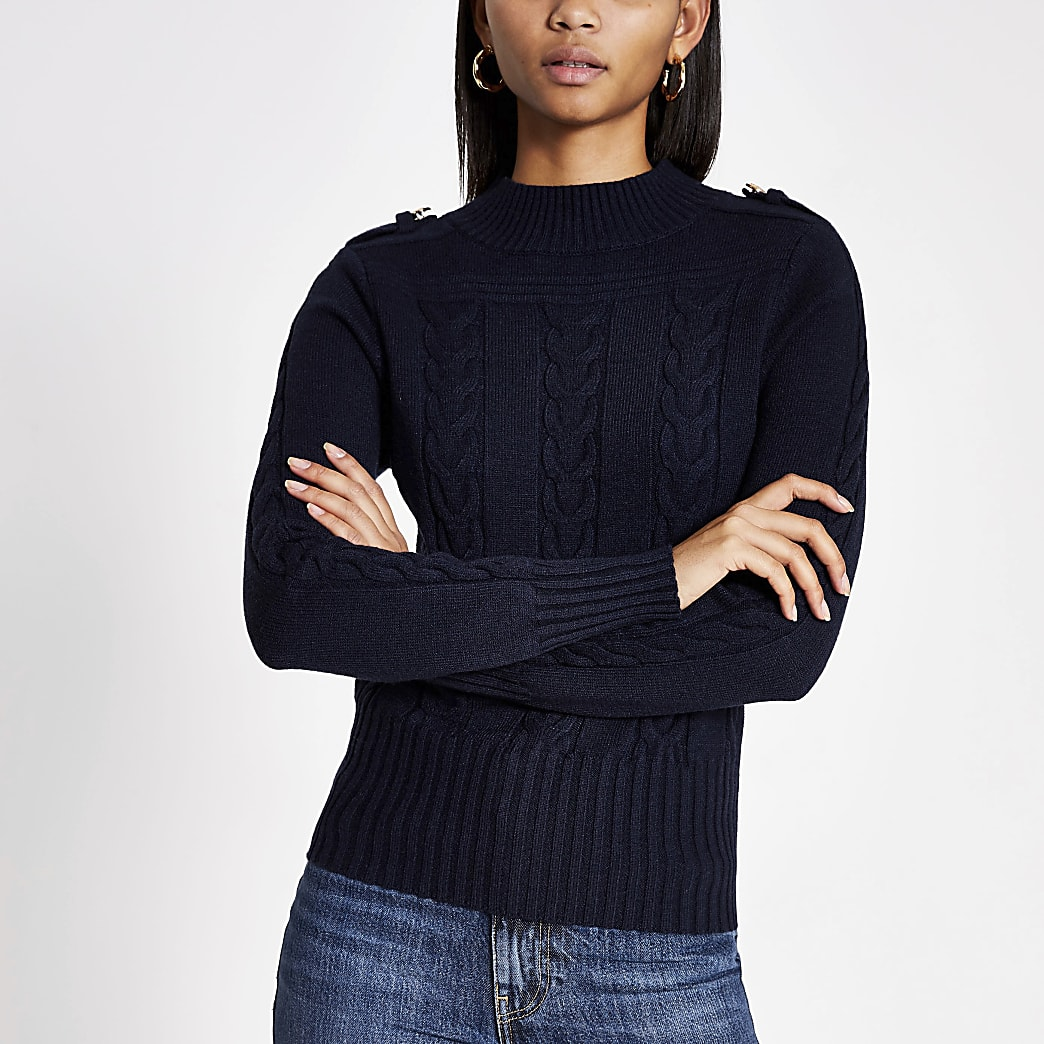 Navy long sleeve cable knitted jumper