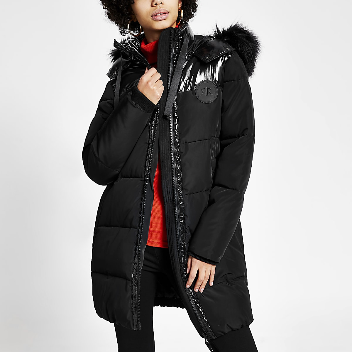 Black blocked quilted puffer jacket