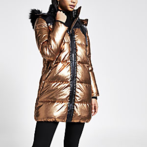Bronze longline puffer coat