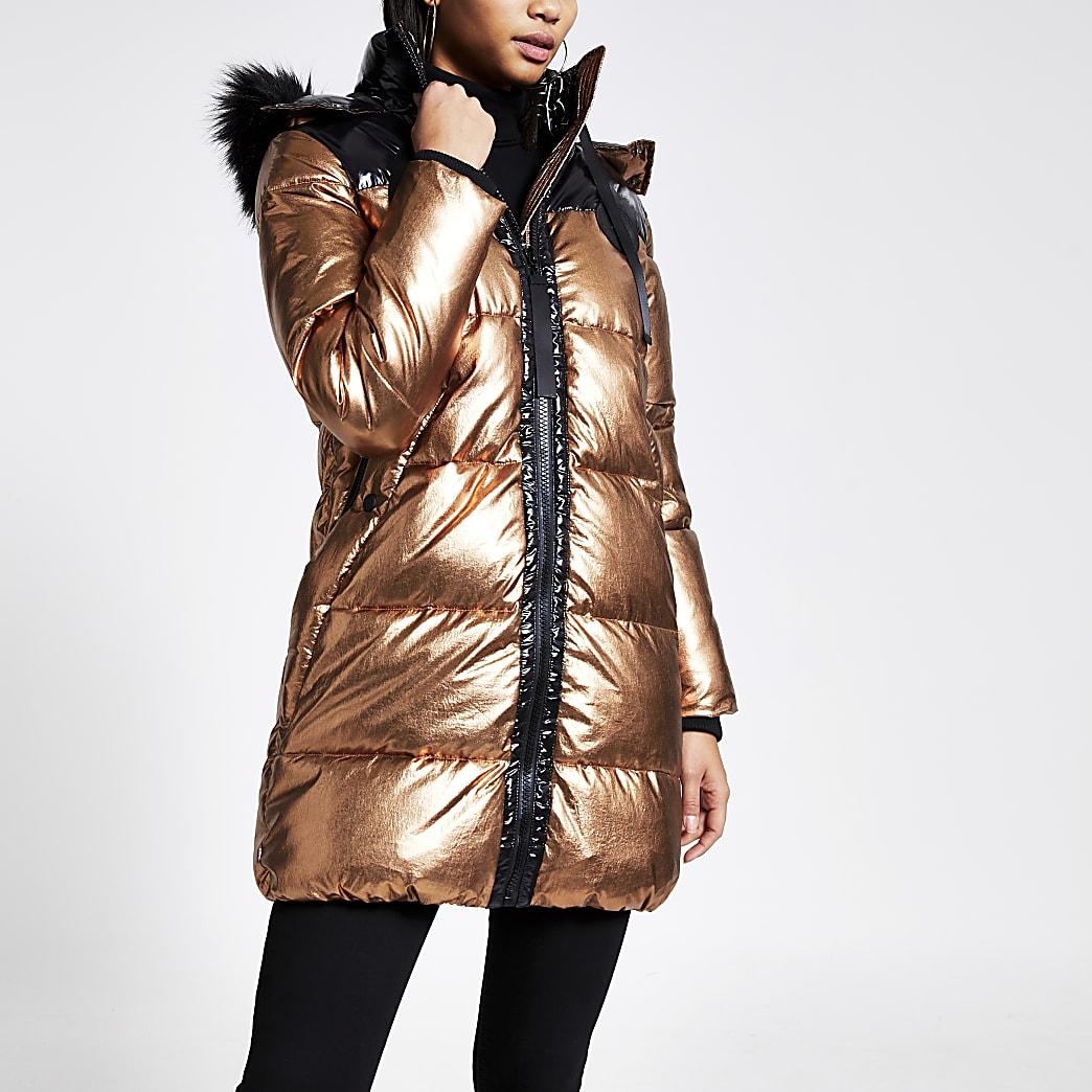 Bronskleurige lange gewatteerde jas