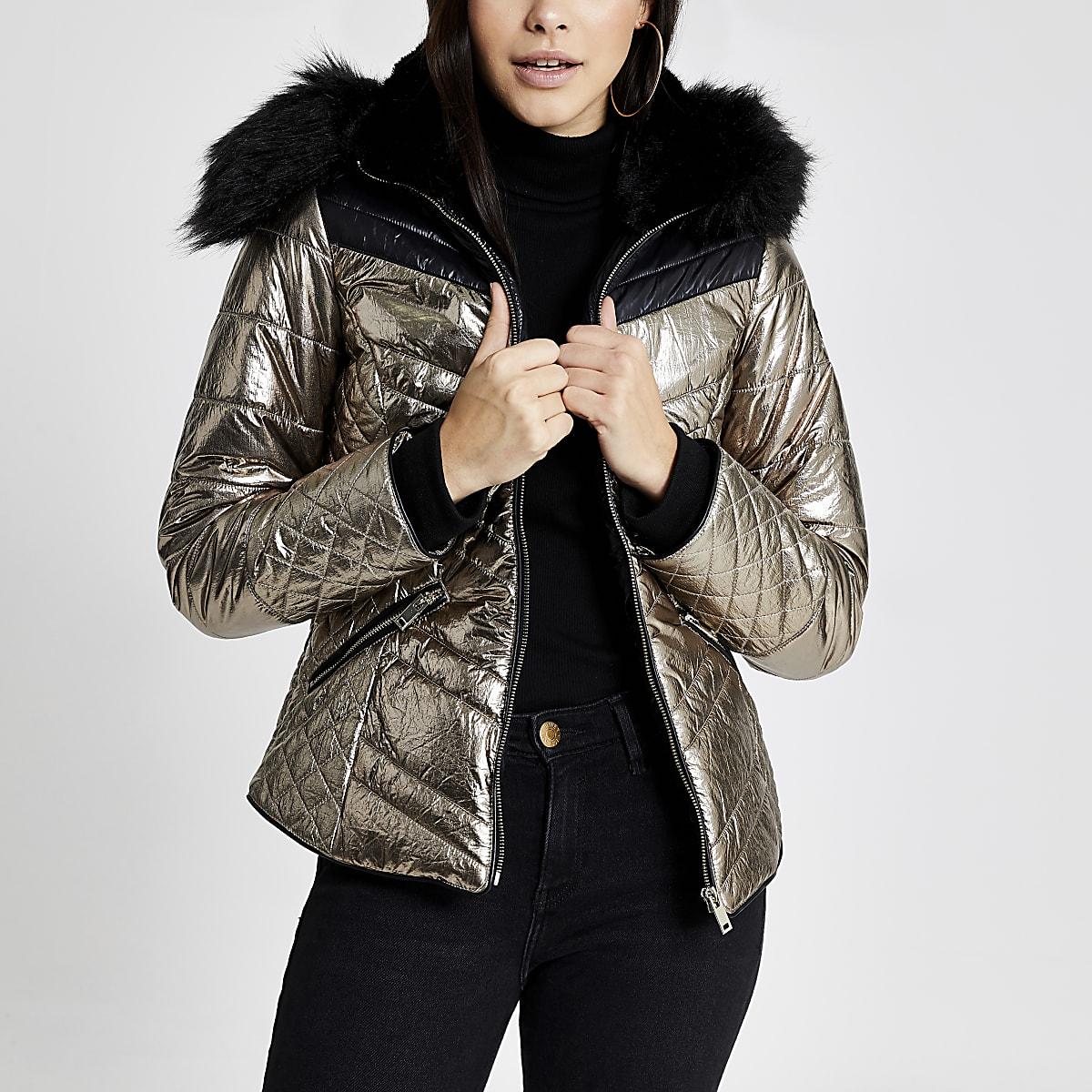 Bronskleurige metallic gewatteerde jas met capuchon van imitatiebont