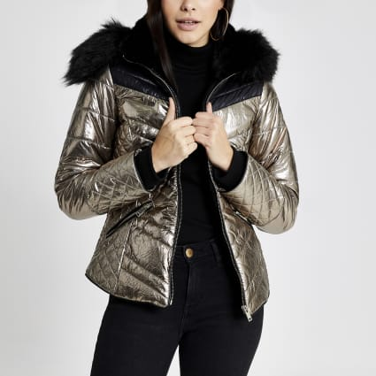 Bronze metallic faux fur hood padded jacket