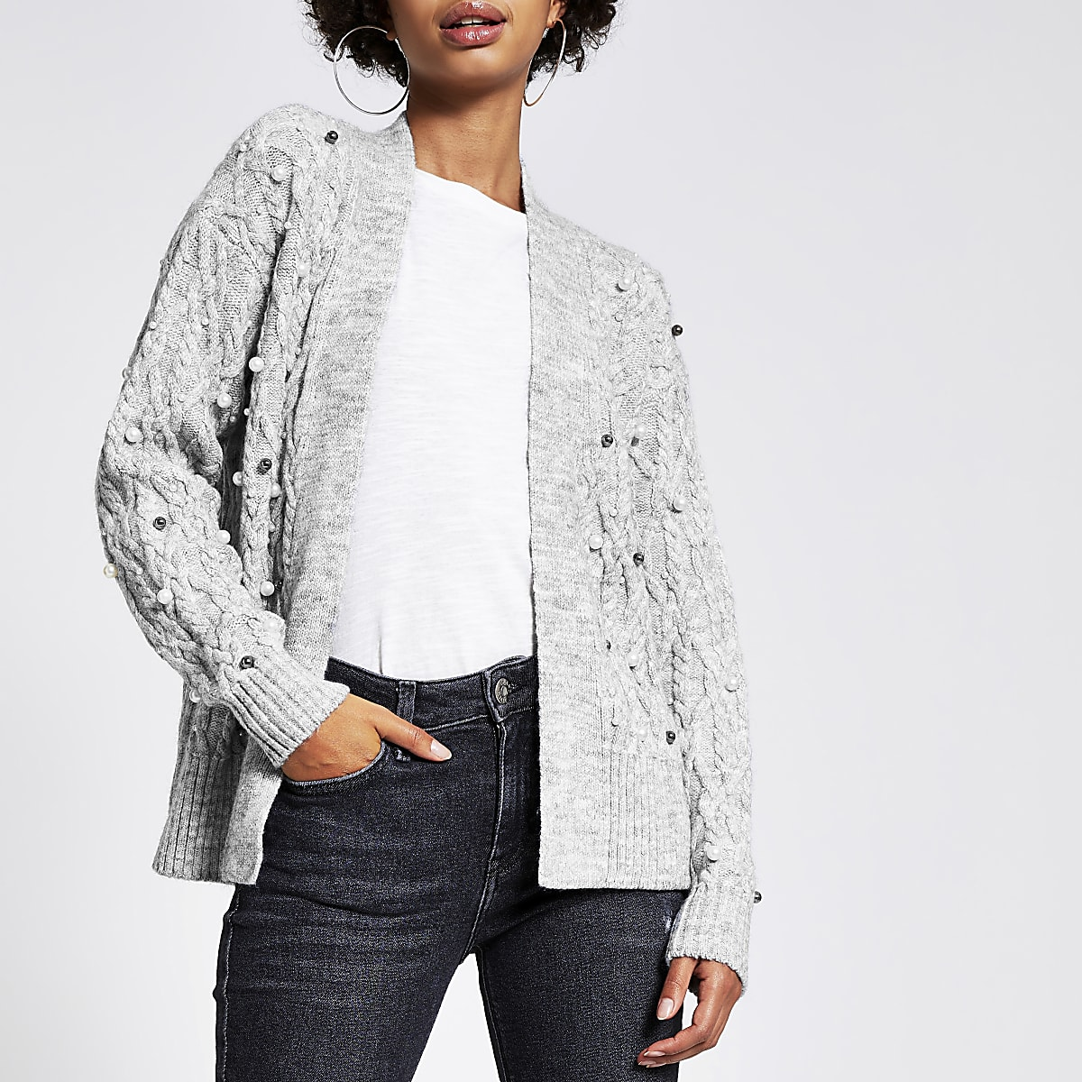 Grey cable knitted pearl embellished cardigan