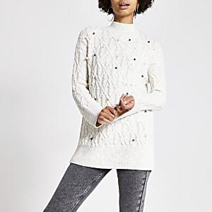 Tunika-Pullover in Creme mit Zopfmuster und Perlen