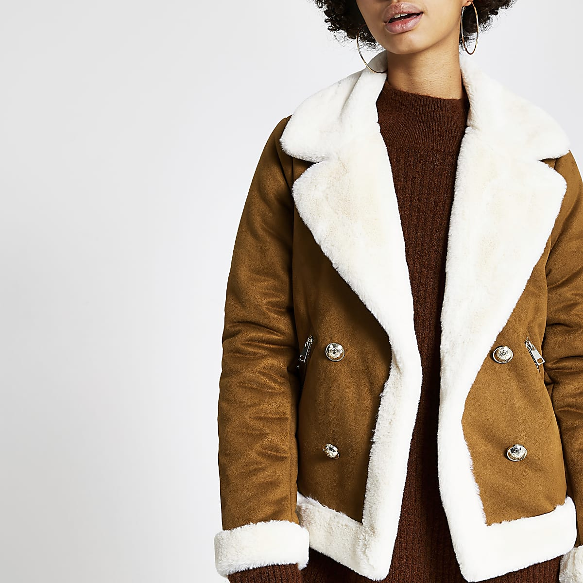 Brown faux suede shearling fallaway jacket