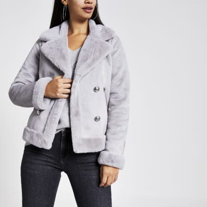 Grey faux suede shearling fallaway jacket
