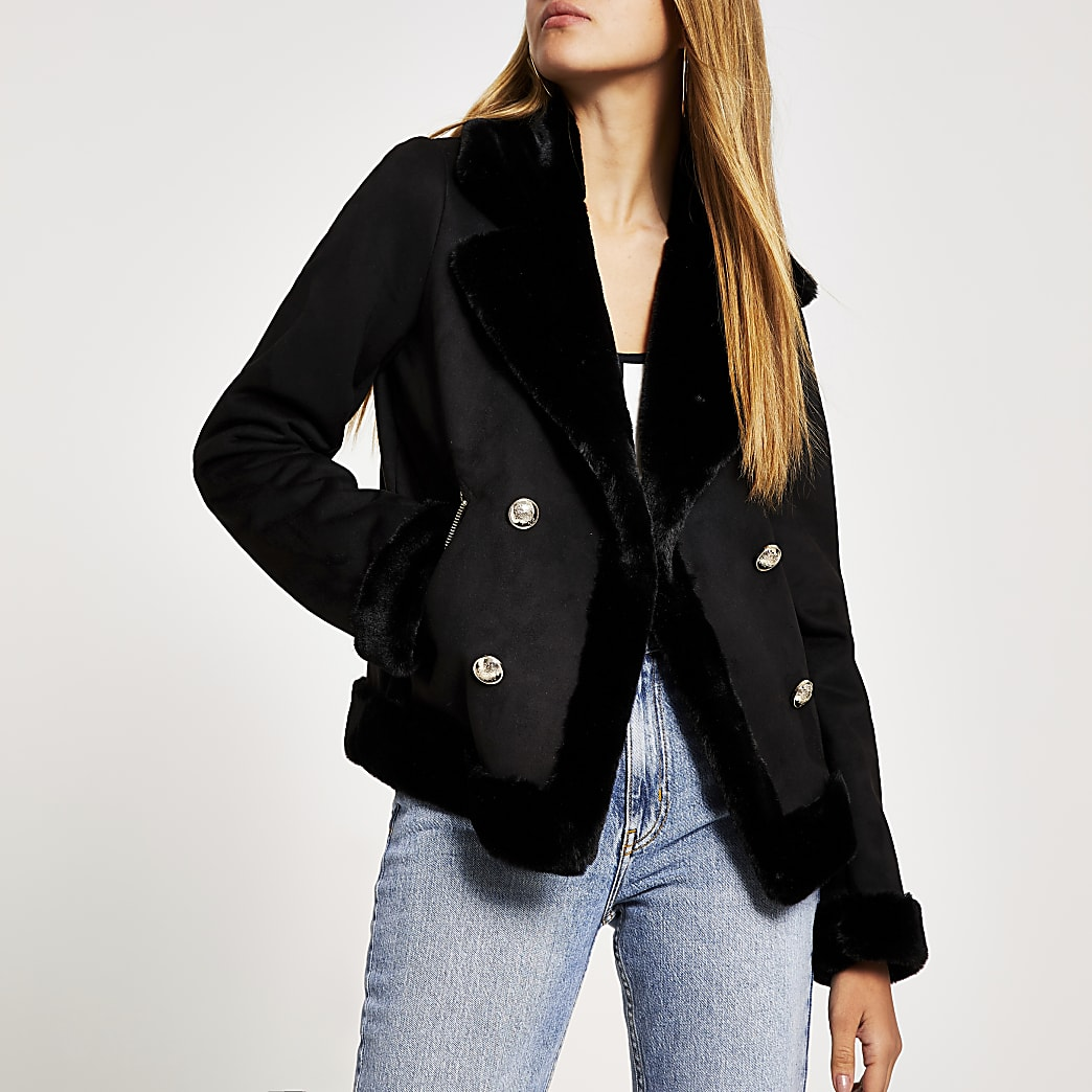 Black faux fur crested button aviator jacket