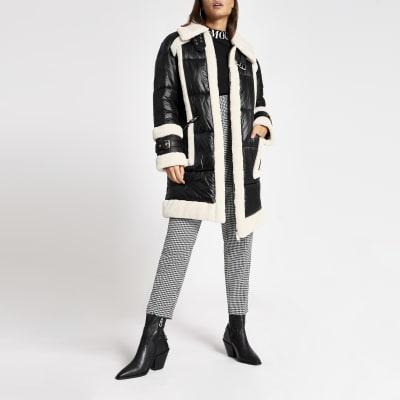 Black faux fur padded longline aviator jacket