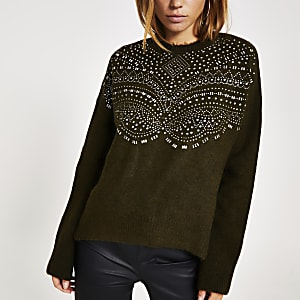 Khaki embellished long sleeve knitted jumper