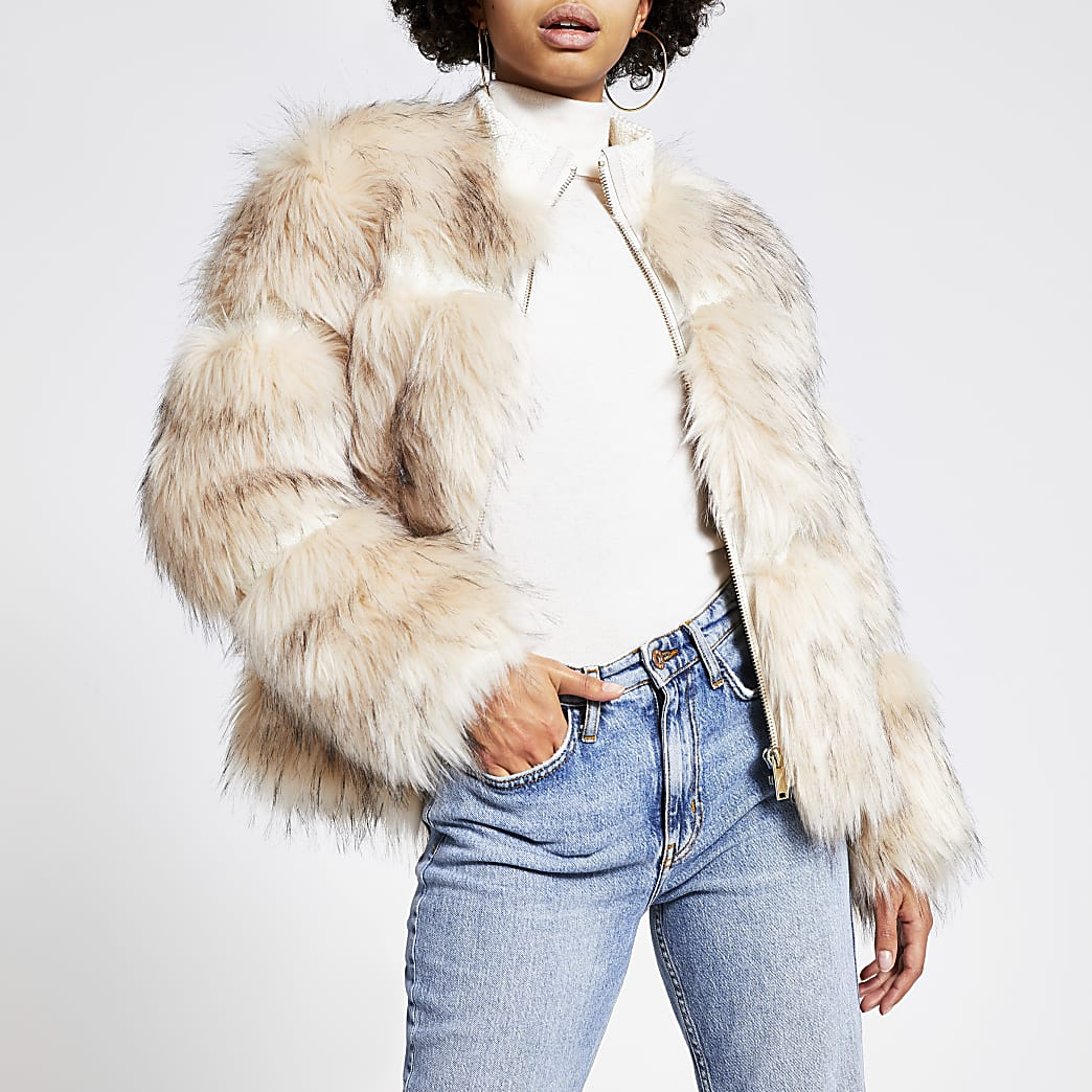 Cream faux fur zip front jacket