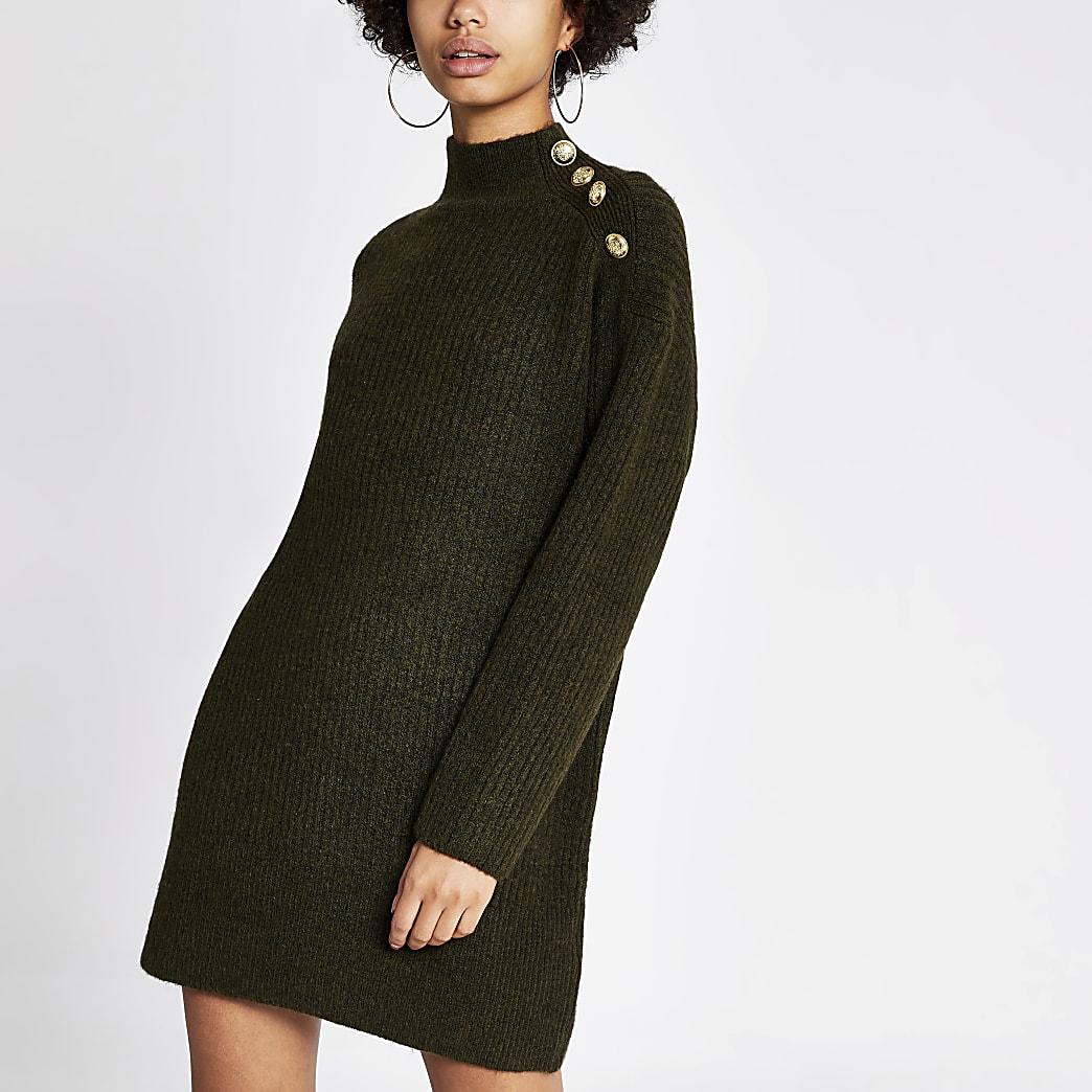 Kaki gebreide trui-jurk met knopen op schouder