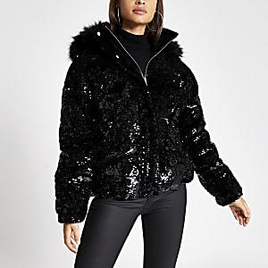 Doudoune noire à paillettes avec capuche et fausse fourrure