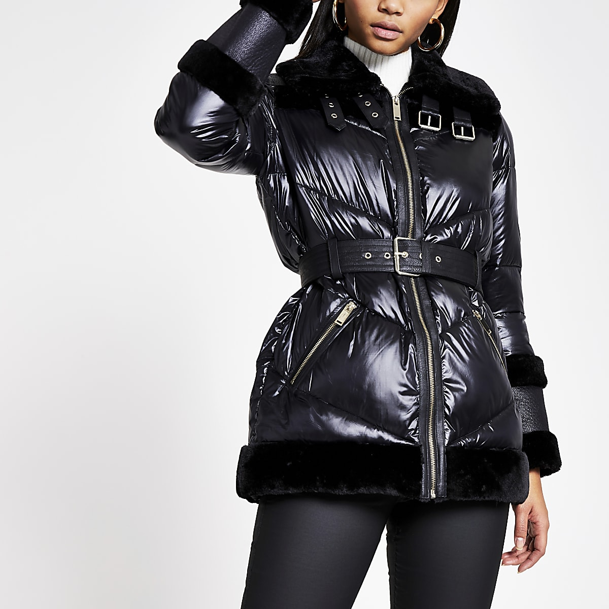 Black faux fur trim belted puffer coat