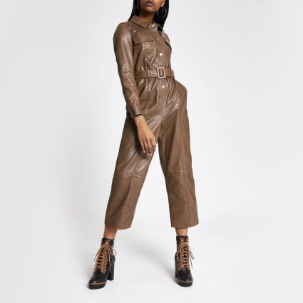 Brown leather belted long sleeve jumpsuit