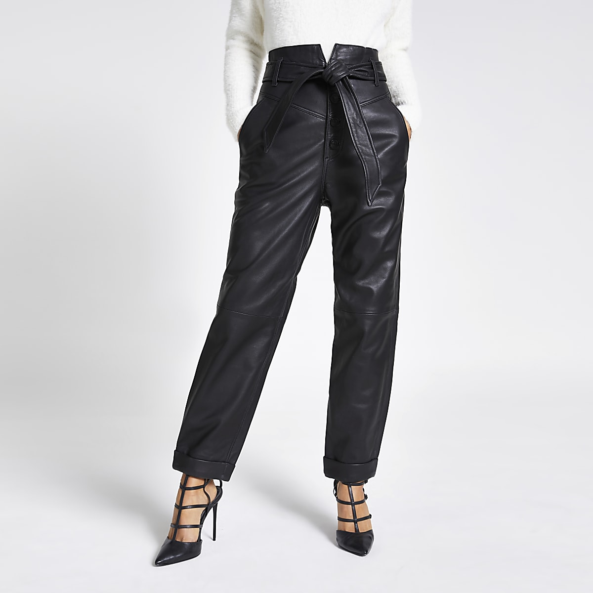 Black leather tie belted peg trousers