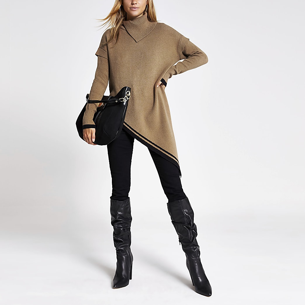 Brown asymmetric long sleeve roll neck jumper