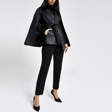 Black faux leather textured cape jacket