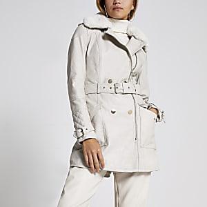 Beigefarben Jacke mit Gürtel aus Kunstleder