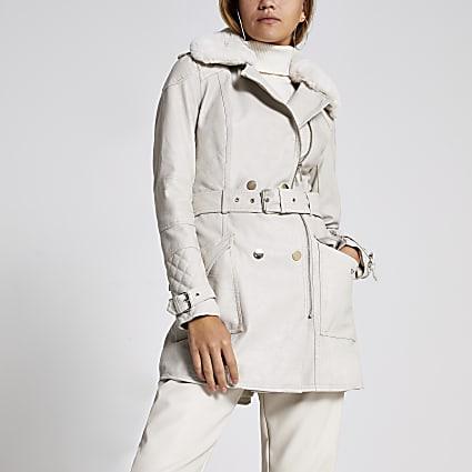 Beige faux leather belted jacket