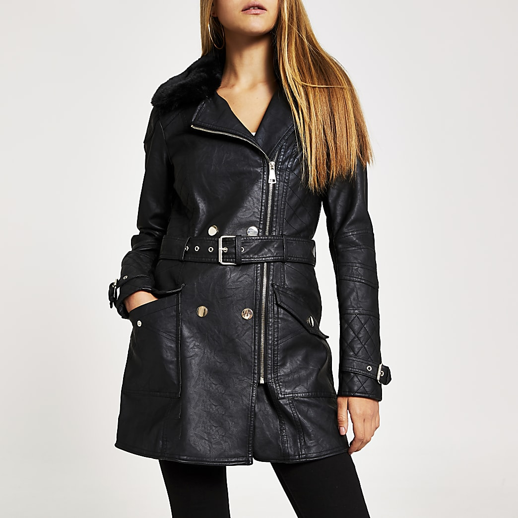 Black faux leather longline belted jacket