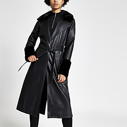 Black faux leather longline trench coat