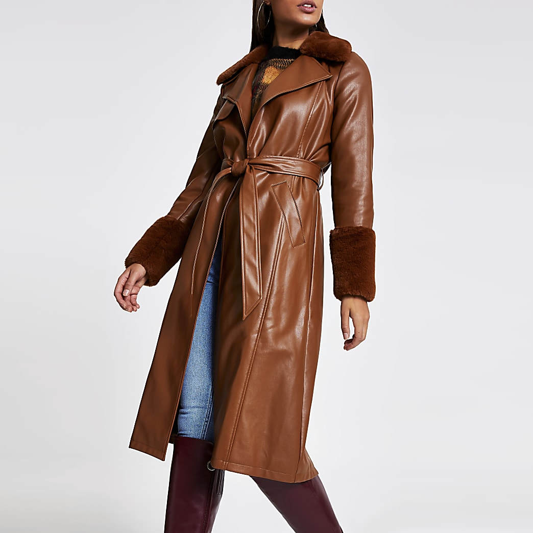 Brown faux leather longline trench coat