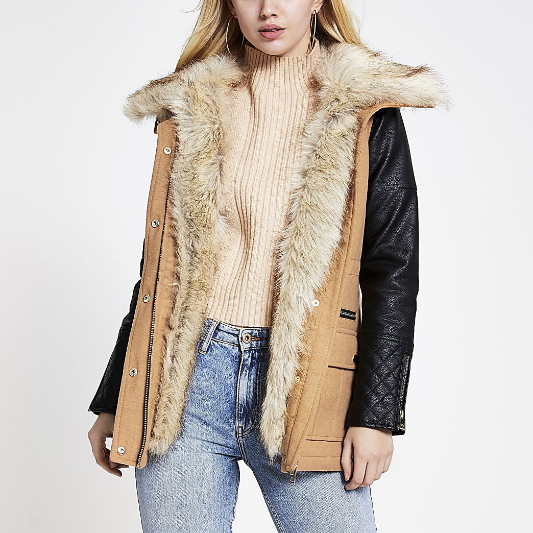 Brown PU sleeve parka jacket