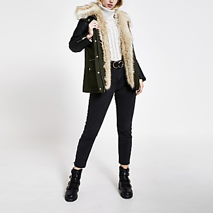 Khaki faux fur trim PU blocked jacket