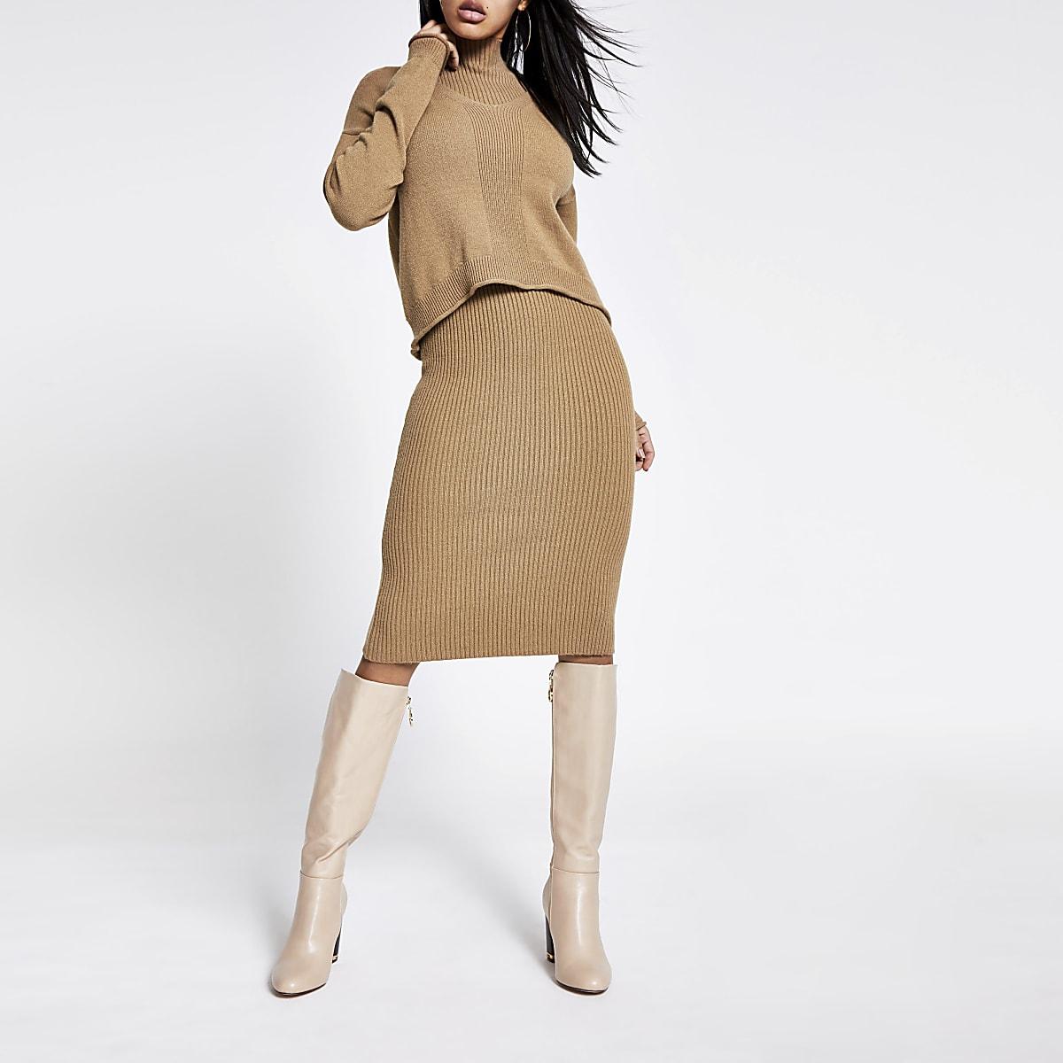 Dark brown layered dress