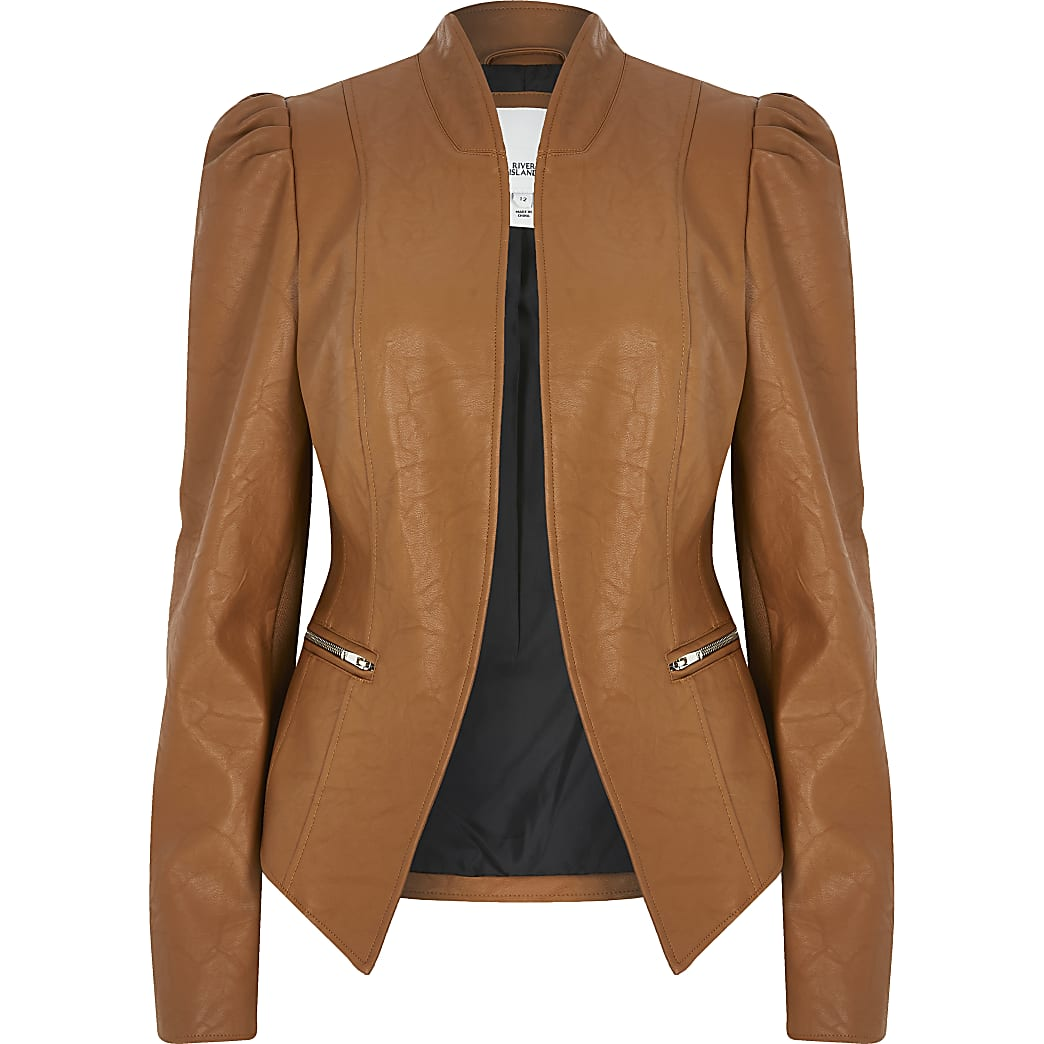 Brown faux leather puff sleeve blazer