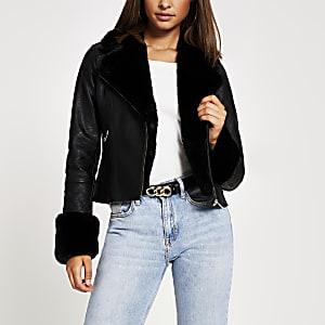 Black faux fur collar quilted biker jacket