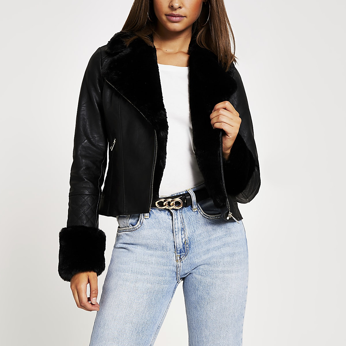 Black faux fur collar quilted biker jacket