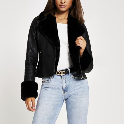 Black faux fur cuff quilted biker jacket