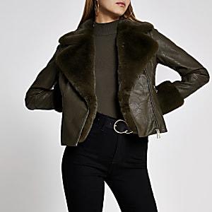 Khaki faux fur cuff quilted biker jacket