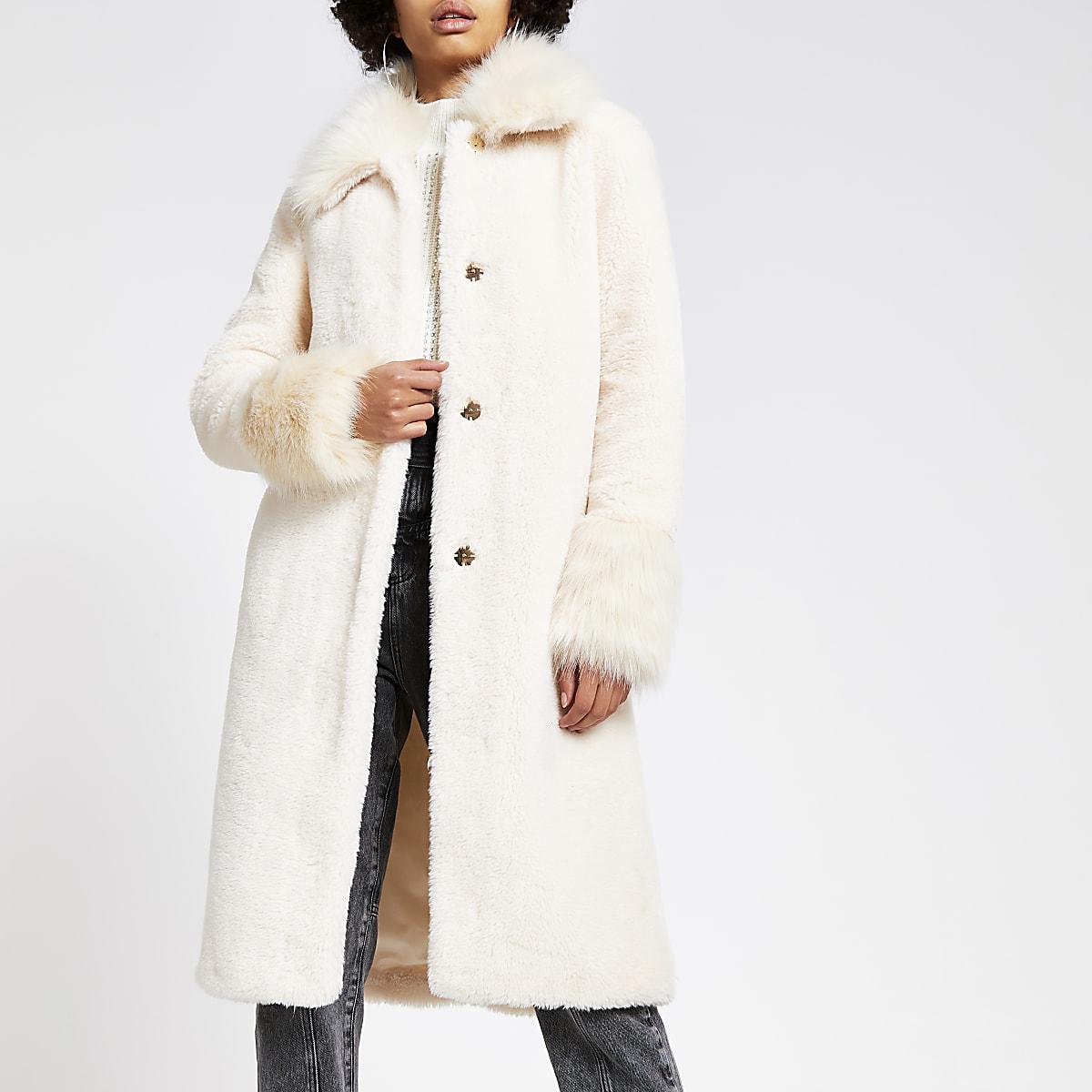 Cream faux fur longline coat