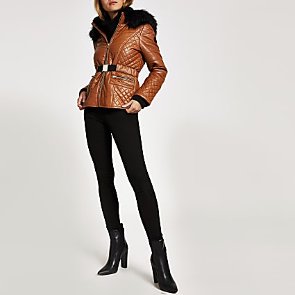 Brown faux leather fitted padded jacket