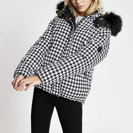 White dogtooth check padded coat