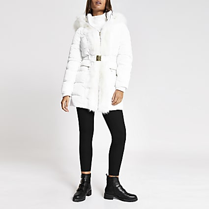 White faux fur trim padded longline jacket