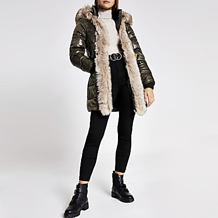 Khaki hooded padded fur trim belted coat