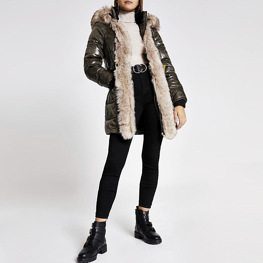 Khaki hooded padded fur trim belted coat