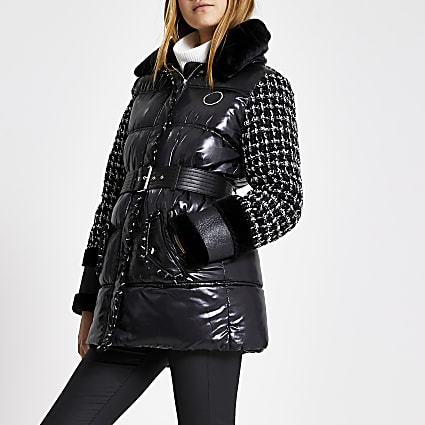 Black boucle blocked padded belt coat