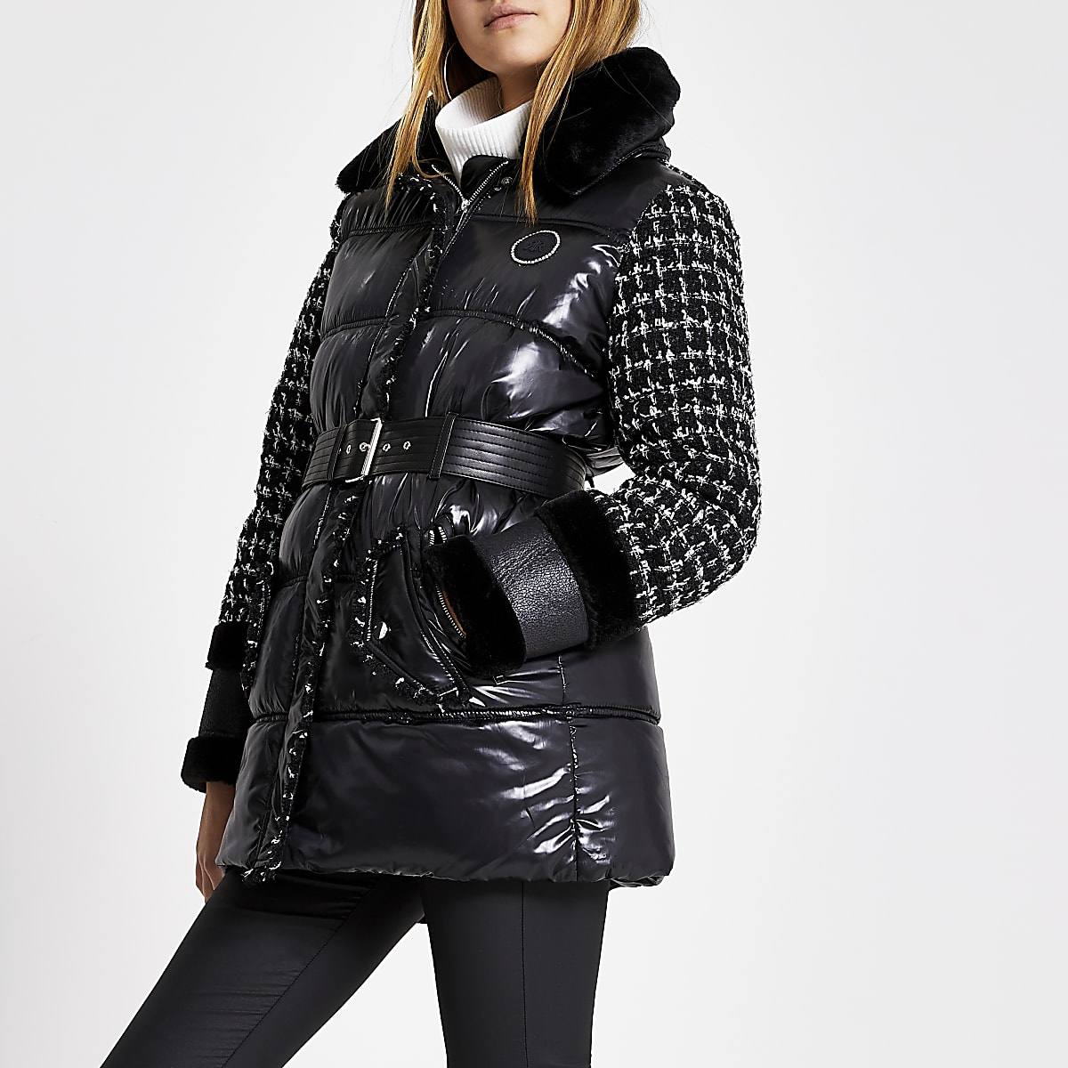 Black boucle blocked padded belt coat