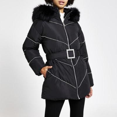 Black diamante belted puffer coat