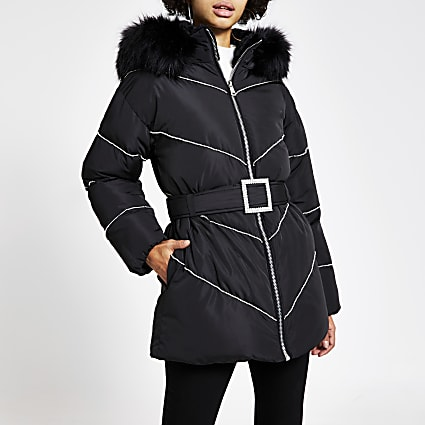 Black diamante belted puffer coat