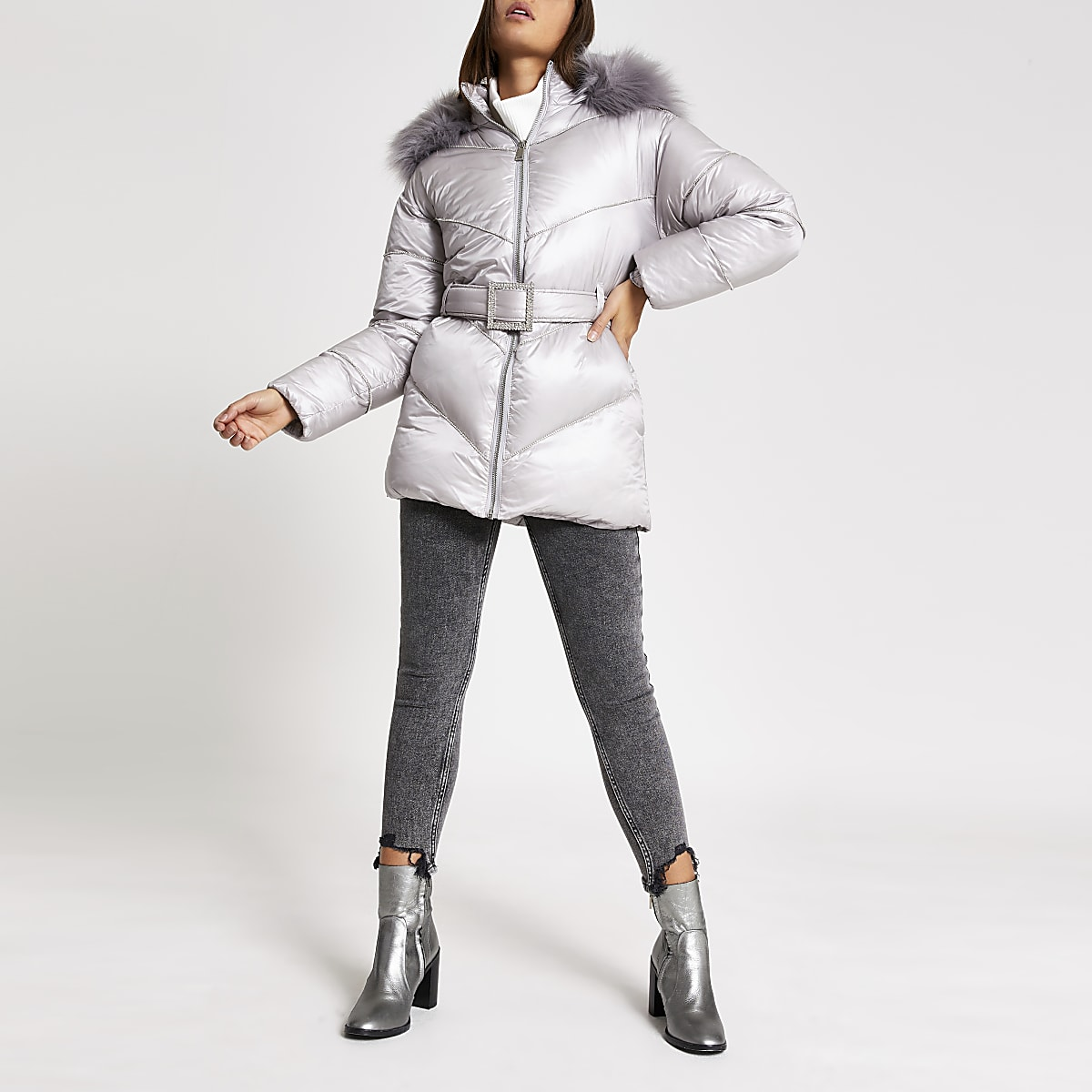 Grey diamante embellished puffer jacket