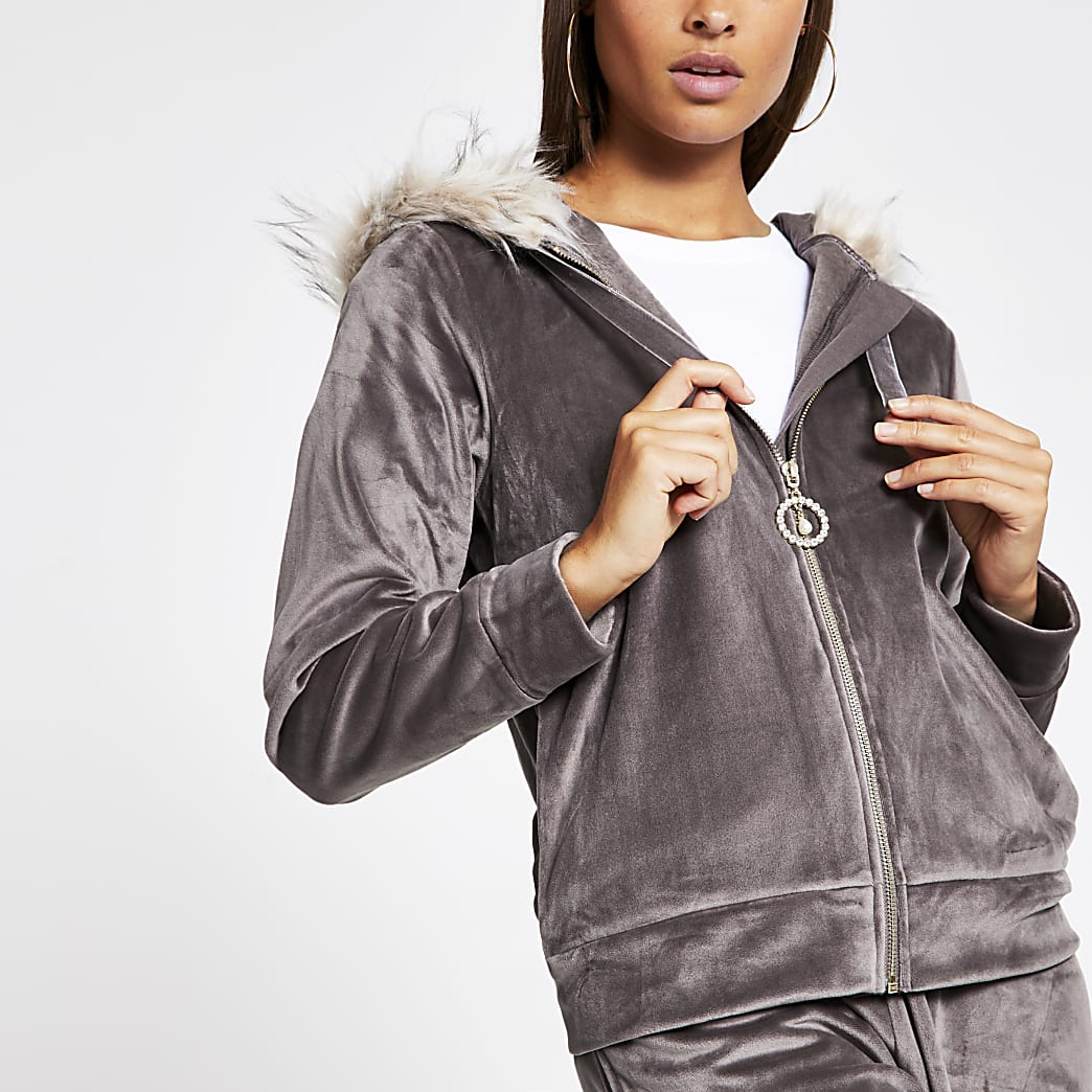 Grey velour faux fur trim hoodie